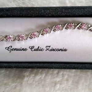 Genuine Cubic Zirconia Tennis Bracelet